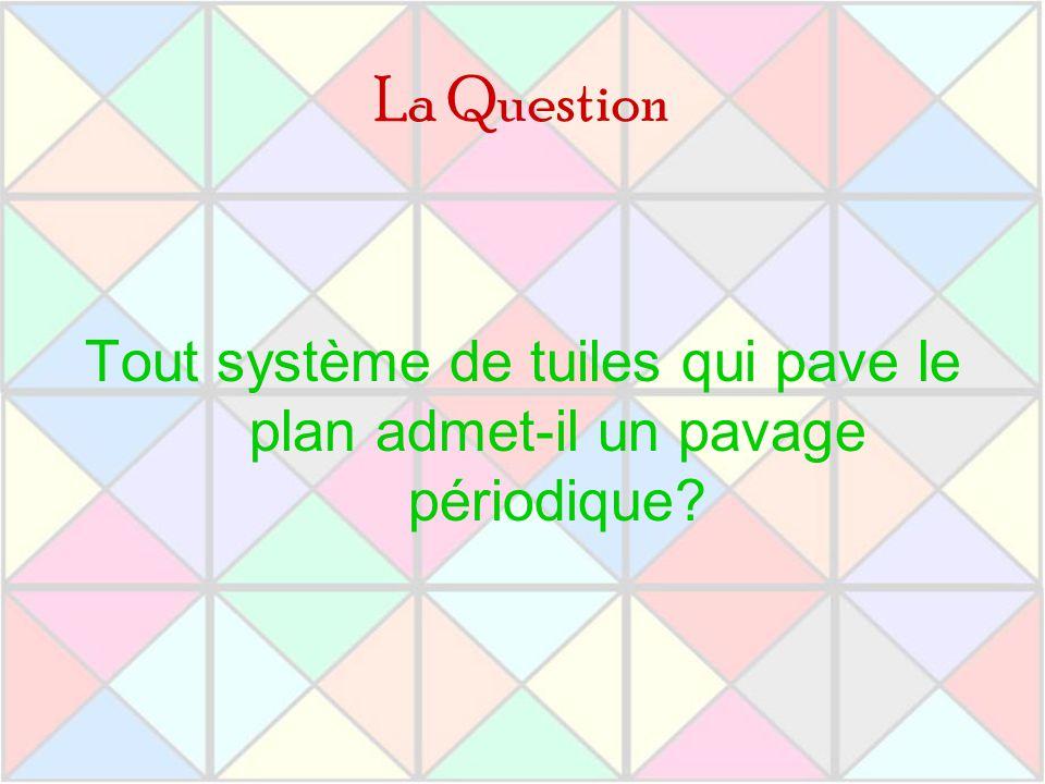 La Question Tout système de tuiles qui pave le plan admet-il un pavage périodique?