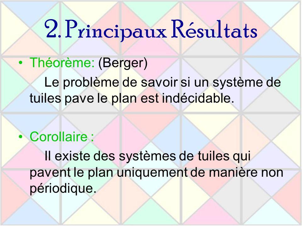 2. Principaux Résultats Théorème: (Berger) Le problème de savoir si un système de tuiles pave le plan est indécidable. Corollaire : Il existe des syst