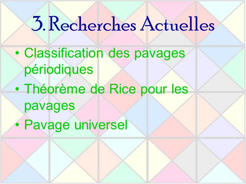 3. Recherches Actuelles Classification des pavages périodiques Théorème de Rice pour les pavages Pavage universel