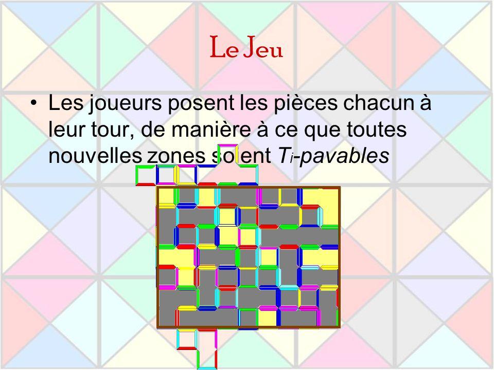 Le Jeu Les joueurs posent les pièces chacun à leur tour, de manière à ce que toutes nouvelles zones soient T i -pavables