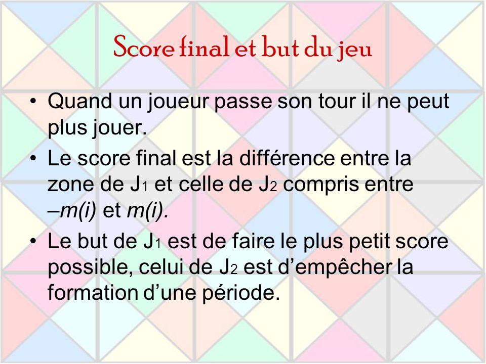 Score final et but du jeu Quand un joueur passe son tour il ne peut plus jouer. Le score final est la différence entre la zone de J 1 et celle de J 2