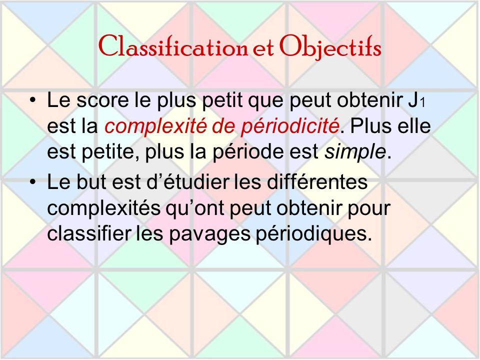 Classification et Objectifs Le score le plus petit que peut obtenir J 1 est la complexité de périodicité. Plus elle est petite, plus la période est si