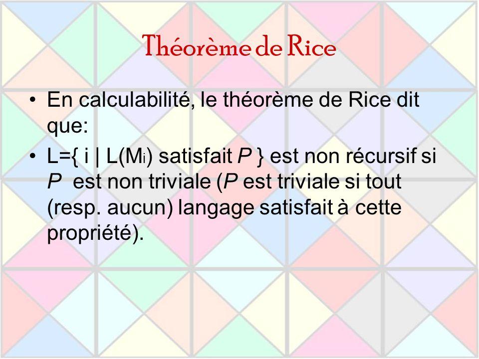 Théorème de Rice En calculabilité, le théorème de Rice dit que: L={ i | L(M i ) satisfait P } est non récursif si P est non triviale (P est triviale s