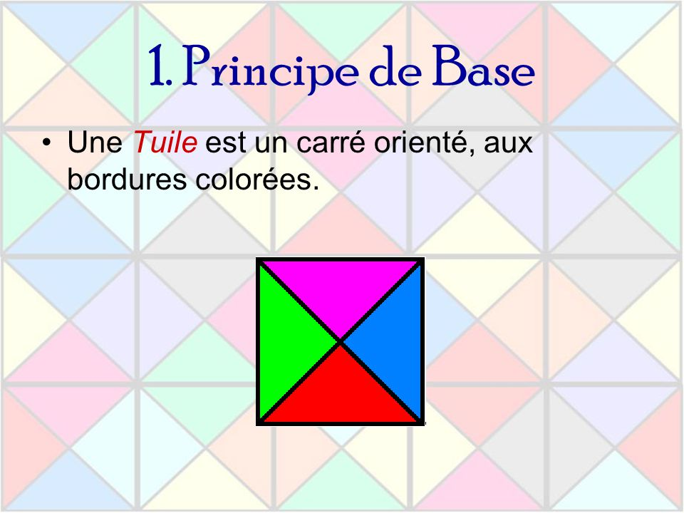 Quasipériodicité Un pavage du plan est dit quasipériodique si pour tout motif de taille n du pavage, il existe un f(n), tel que dans tout carré de côté f(n), apparaisse au moins une fois le motif.