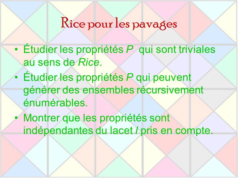 Rice pour les pavages Étudier les propriétés P qui sont triviales au sens de Rice. Étudier les propriétés P qui peuvent générer des ensembles récursiv