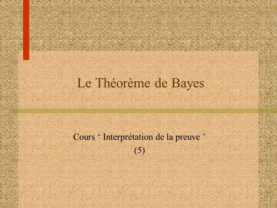 Le Théorème de Bayes Cours Interprétation de la preuve (5)