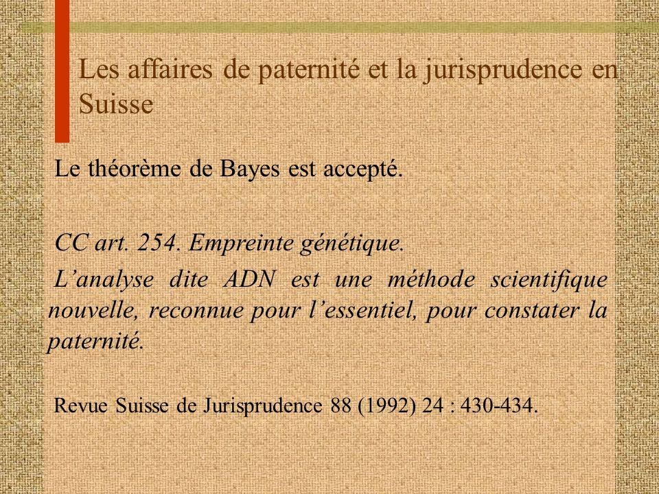 Les affaires de paternité et la jurisprudence en Suisse Le théorème de Bayes est accepté. CC art. 254. Empreinte génétique. Lanalyse dite ADN est une
