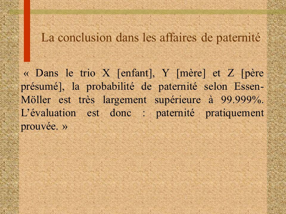 La conclusion dans les affaires de paternité « Dans le trio X [enfant], Y [mère] et Z [père présumé], la probabilité de paternité selon Essen- Möller