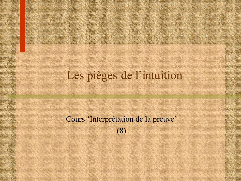 Les pièges de lintuition Cours Interprétation de la preuve (8)