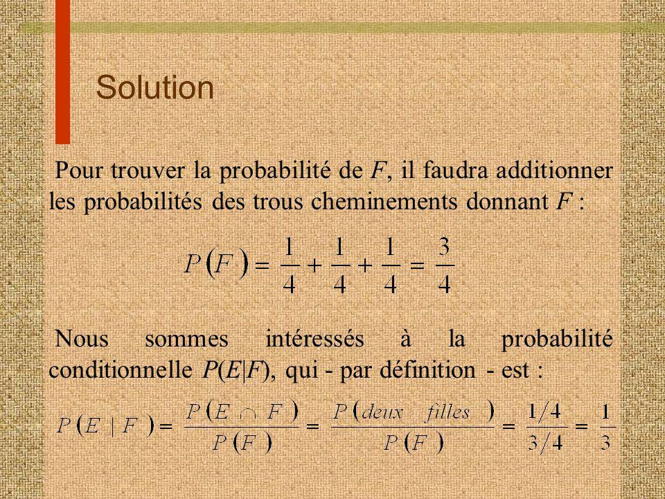 Solution Pour trouver la probabilité de F, il faudra additionner les probabilités des trous cheminements donnant F : Nous sommes intéressés à la probabilité conditionnelle P(E|F), qui - par définition - est :