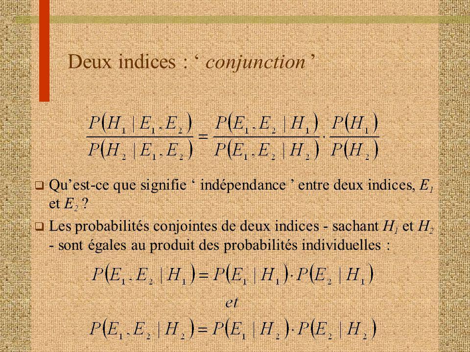 Deux indices : conjunction q Quest-ce que signifie indépendance entre deux indices, E 1 et E 2 ? q Les probabilités conjointes de deux indices - sacha