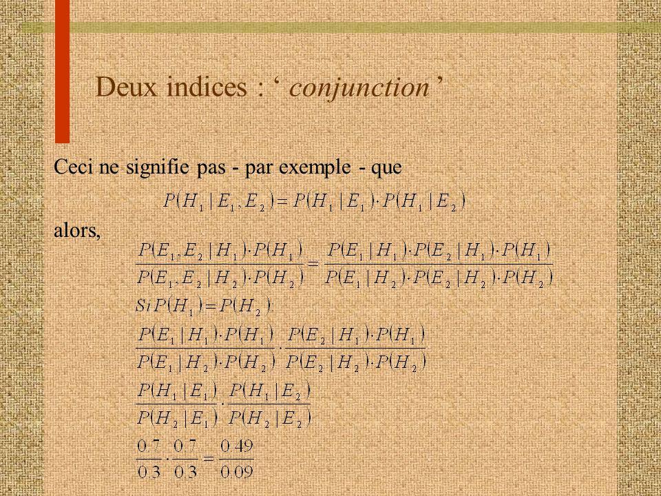 Deux indices : conjunction Ceci ne signifie pas - par exemple - que alors,