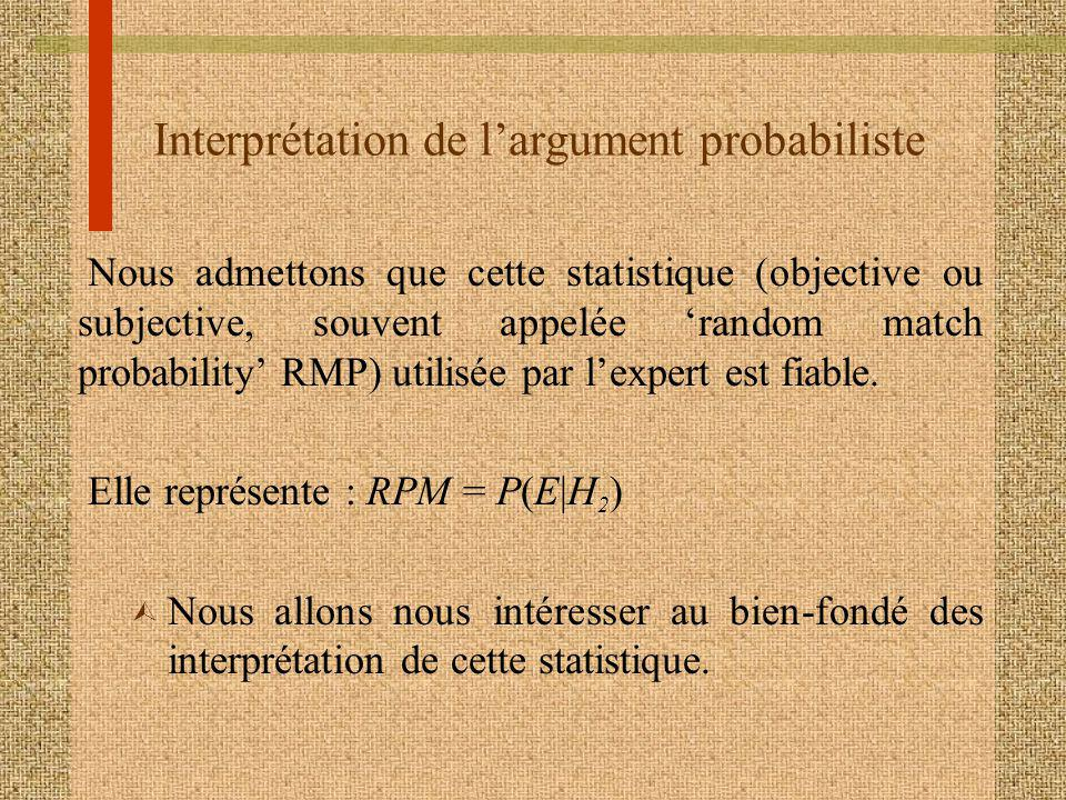 Interprétation de largument probabiliste Nous admettons que cette statistique (objective ou subjective, souvent appelée random match probability RMP) utilisée par lexpert est fiable.