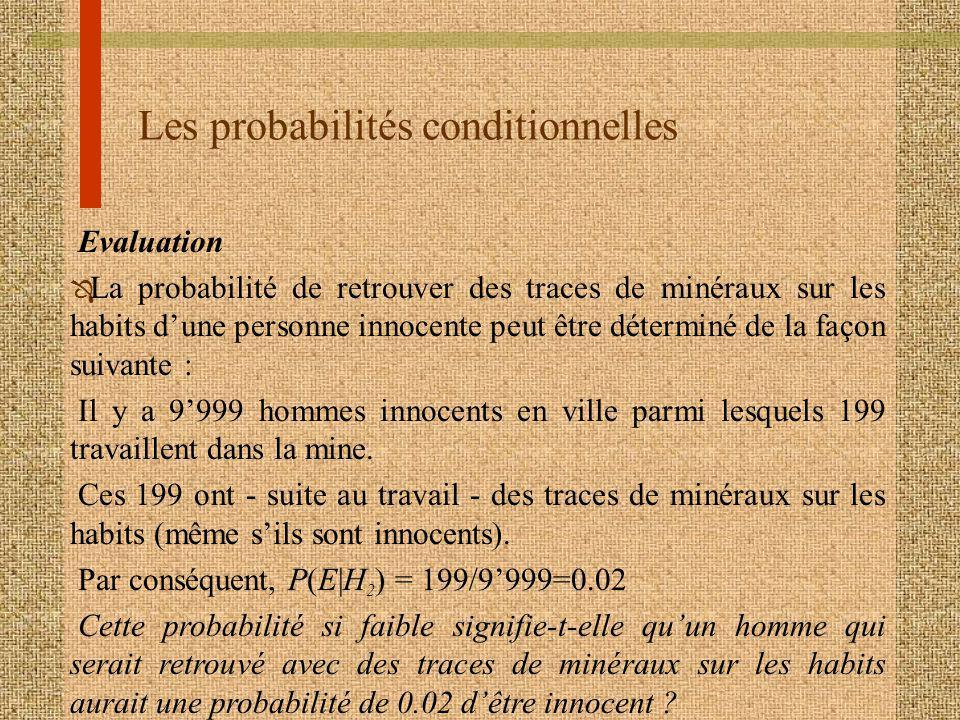 Les probabilités conditionnelles Evaluation Ô La probabilité de retrouver des traces de minéraux sur les habits dune personne innocente peut être déte