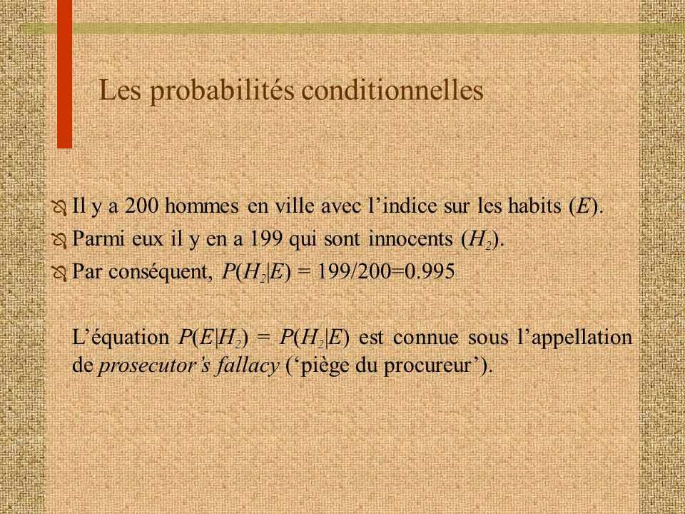 Les probabilités conditionnelles Ô Il y a 200 hommes en ville avec lindice sur les habits (E). Ô Parmi eux il y en a 199 qui sont innocents (H 2 ). Ô