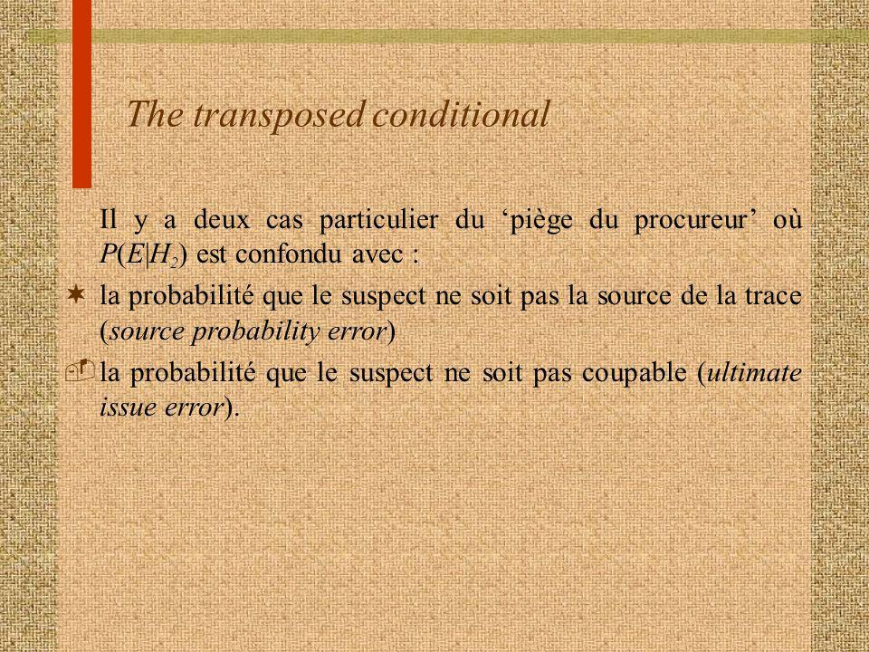 The transposed conditional Il y a deux cas particulier du piège du procureur où P(E|H 2 ) est confondu avec : ¬la probabilité que le suspect ne soit pas la source de la trace (source probability error) la probabilité que le suspect ne soit pas coupable (ultimate issue error).