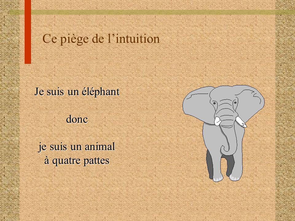 Ce piège de lintuition Je suis un éléphant donc je suis un animal à quatre pattes