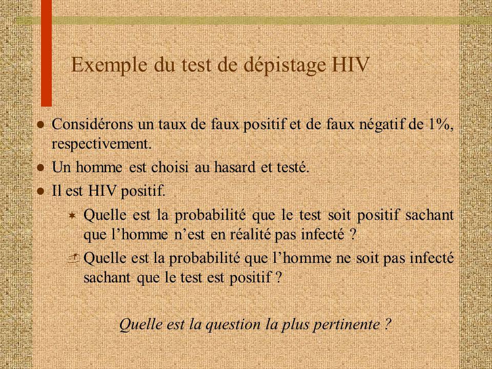 Exemple du test de dépistage HIV l Considérons un taux de faux positif et de faux négatif de 1%, respectivement. l Un homme est choisi au hasard et te