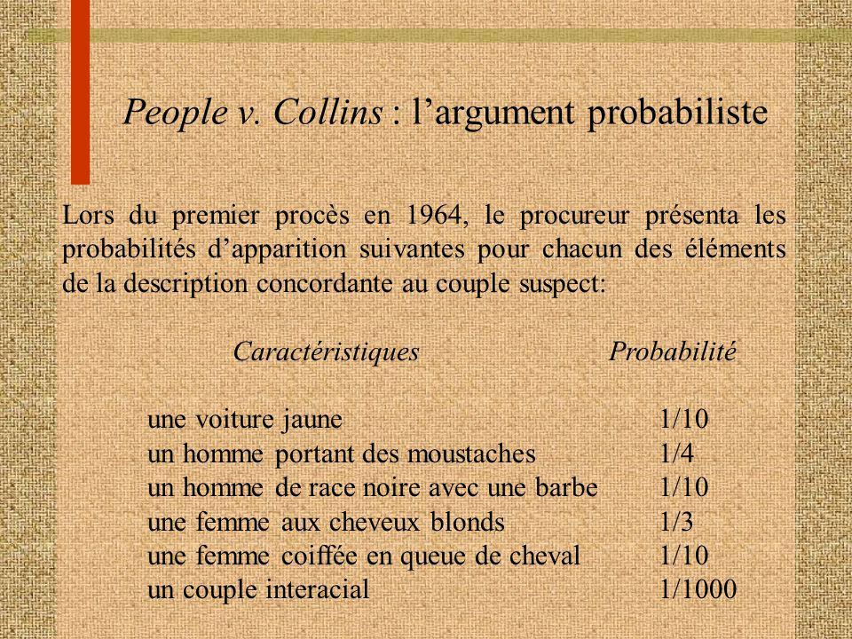 People v. Collins : largument probabiliste Lors du premier procès en 1964, le procureur présenta les probabilités dapparition suivantes pour chacun de