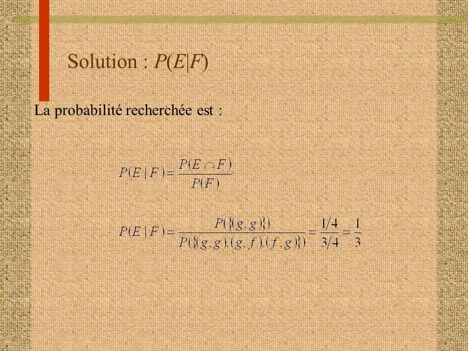 Solution : P(E|F) La probabilité recherchée est :