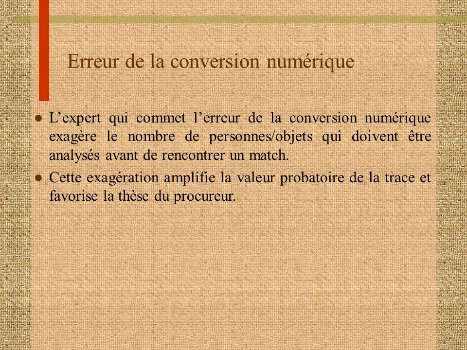 Erreur de la conversion numérique l Lexpert qui commet lerreur de la conversion numérique exagère le nombre de personnes/objets qui doivent être analysés avant de rencontrer un match.