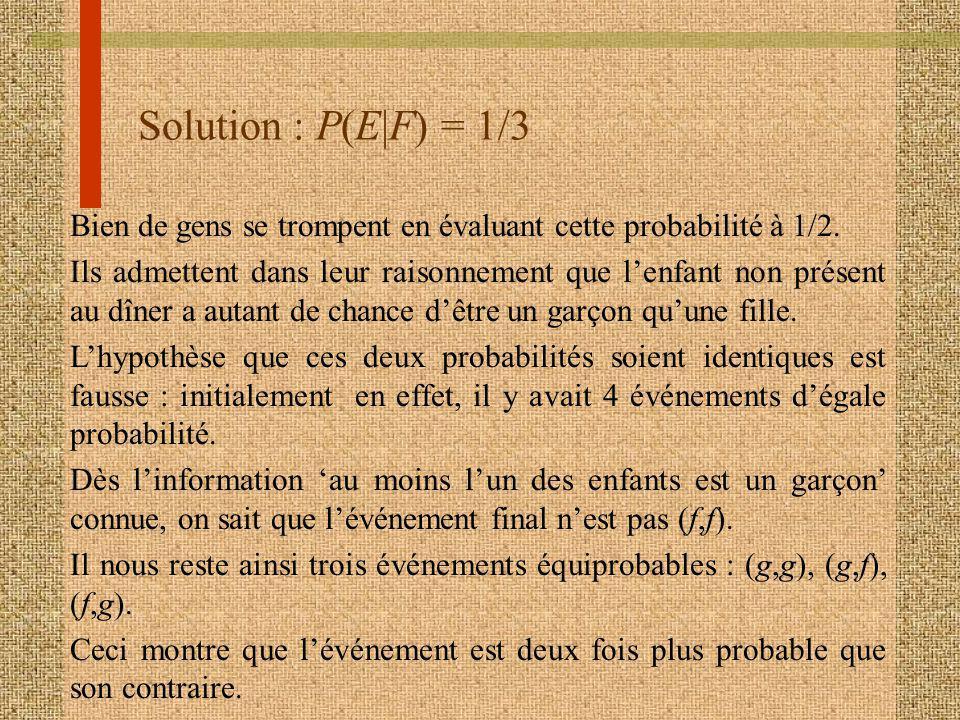 Solution : P(E|F) = 1/3 Bien de gens se trompent en évaluant cette probabilité à 1/2. Ils admettent dans leur raisonnement que lenfant non présent au