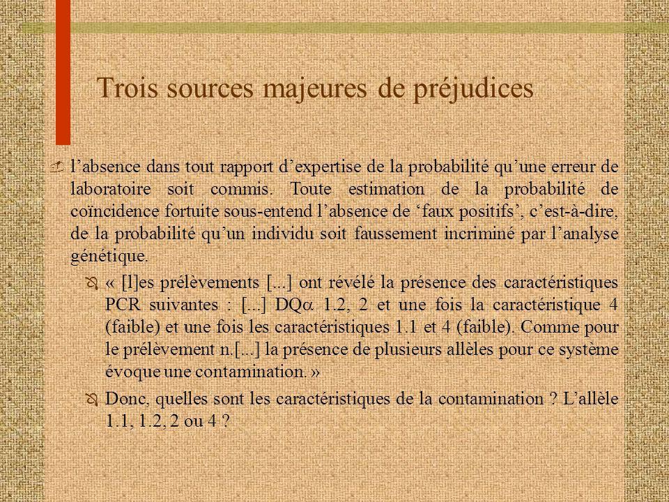 Trois sources majeures de préjudices  labsence dans tout rapport dexpertise de la probabilité quune erreur de laboratoire soit commis. Toute estimati