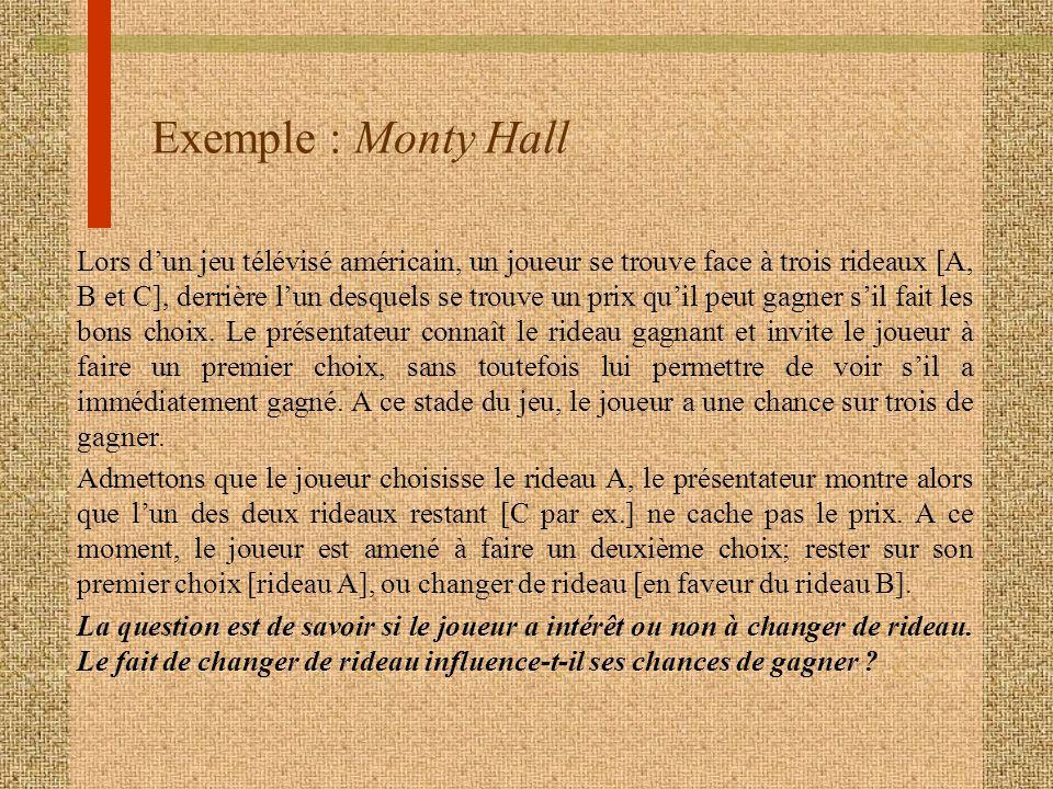 Exemple : Monty Hall Lors dun jeu télévisé américain, un joueur se trouve face à trois rideaux [A, B et C], derrière lun desquels se trouve un prix quil peut gagner sil fait les bons choix.