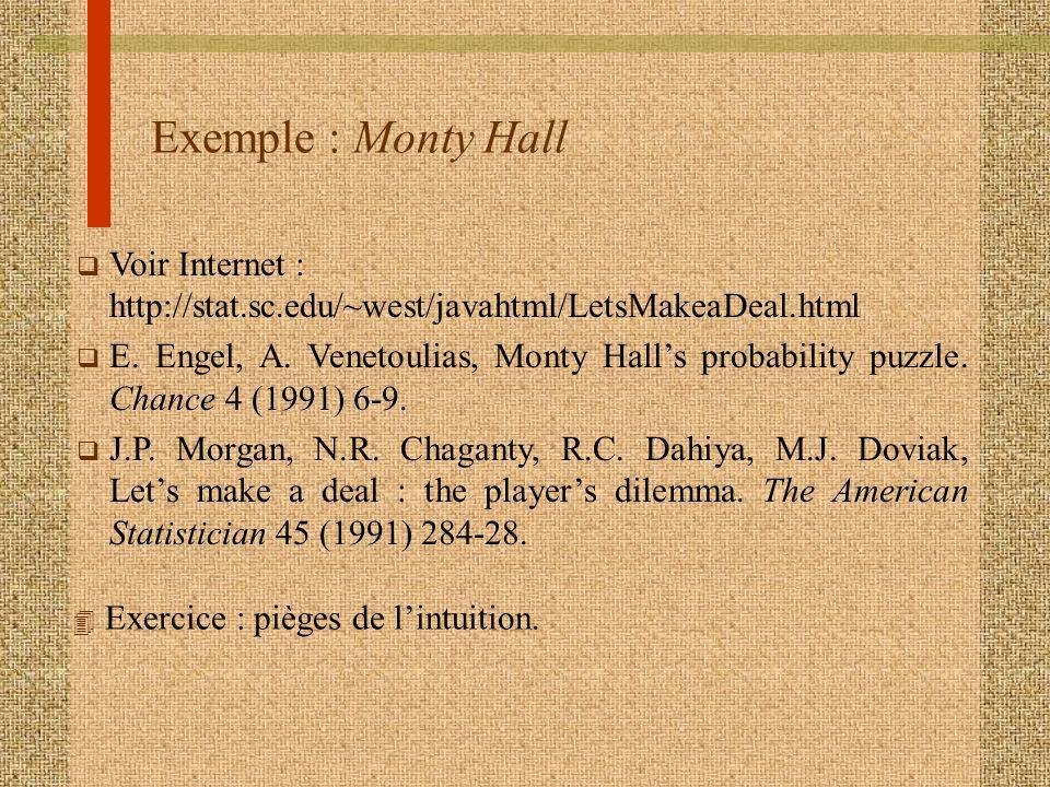 Exemple : Monty Hall q Voir Internet : http://stat.sc.edu/~west/javahtml/LetsMakeaDeal.html q E. Engel, A. Venetoulias, Monty Halls probability puzzle