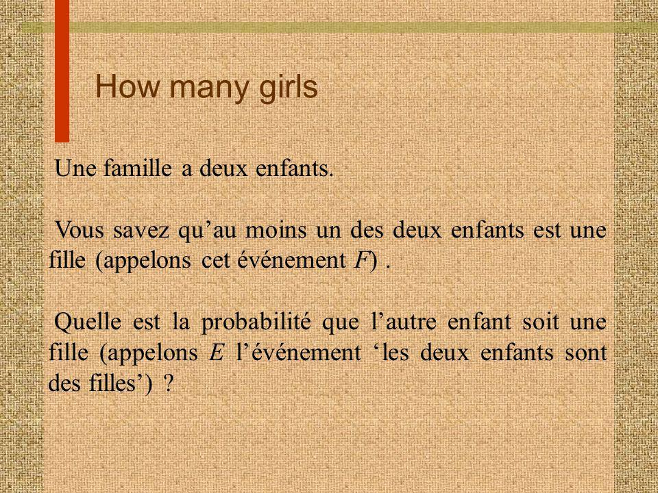 How many girls Une famille a deux enfants. Vous savez quau moins un des deux enfants est une fille (appelons cet événement F). Quelle est la probabili