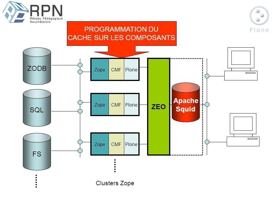 ZODB SQL FS ZopeCMFPloneZopeCMFPloneZopeCMFPlone ZEO Apache Squid Clusters Zope PROGRAMMATION DU CACHE SUR LES COMPOSANTS