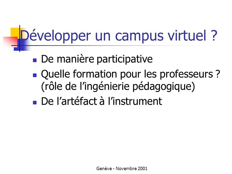 Genève - Novembre 2001 Développer un campus virtuel .