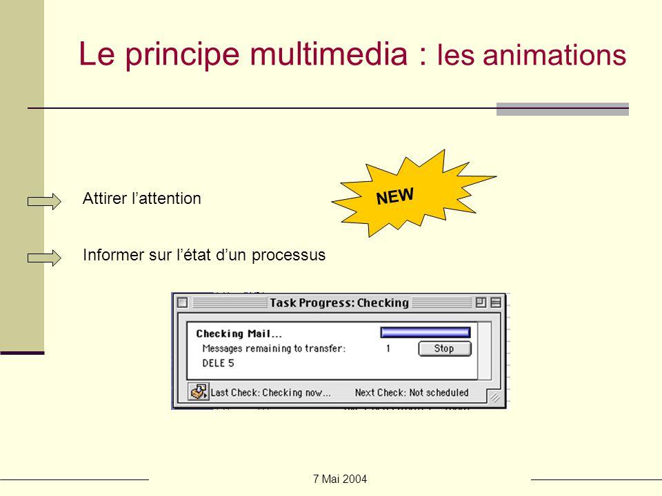 7 Mai 2004 Le principe multimedia : les animations Démonstrations Attirer lattention Informer sur létat dun processus