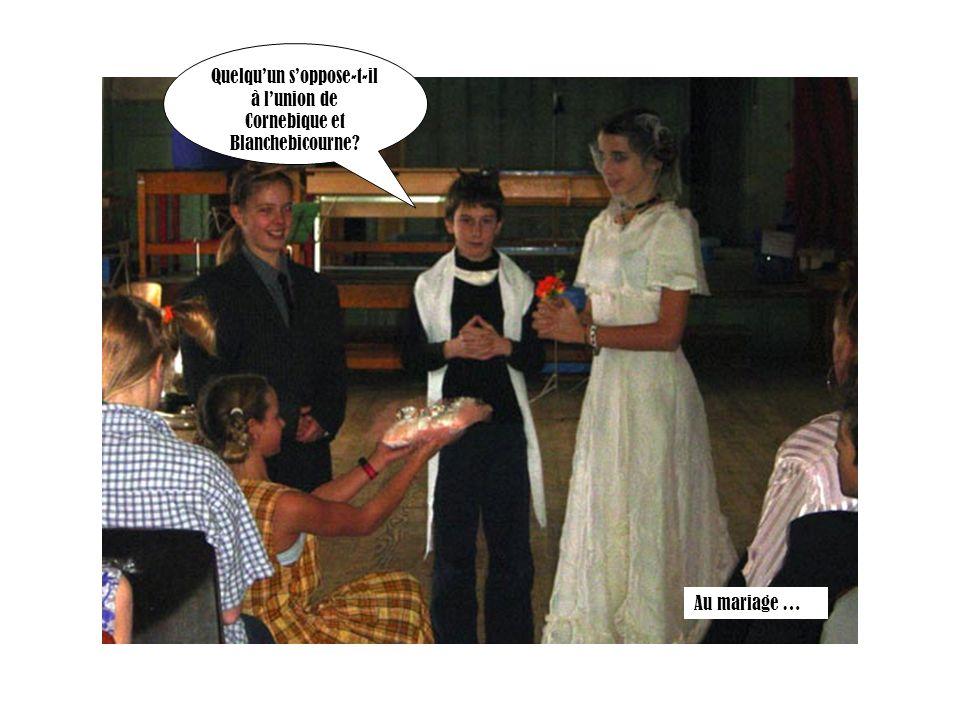 Quelquun soppose-t-il à lunion de Cornebique et Blanchebicourne? Au mariage …