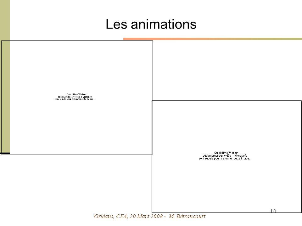 Orléans, CFA, 20 Mars 2008 - M. Bétrancourt 10 Les animations