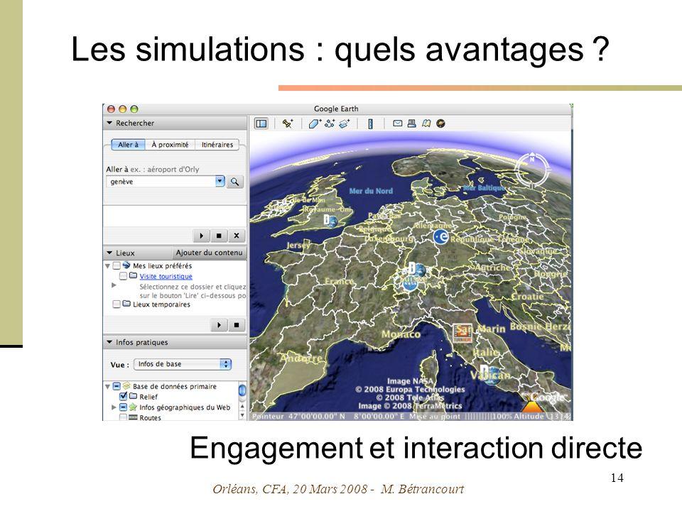 Orléans, CFA, 20 Mars 2008 - M. Bétrancourt 14 Les simulations : quels avantages .