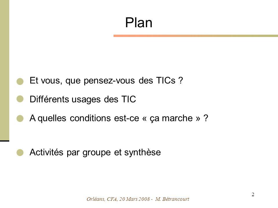 Orléans, CFA, 20 Mars 2008 - M. Bétrancourt 2 Plan Et vous, que pensez-vous des TICs .