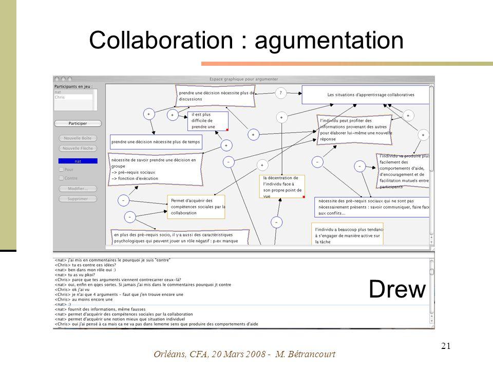 Orléans, CFA, 20 Mars 2008 - M. Bétrancourt 21 Collaboration : agumentation Drew