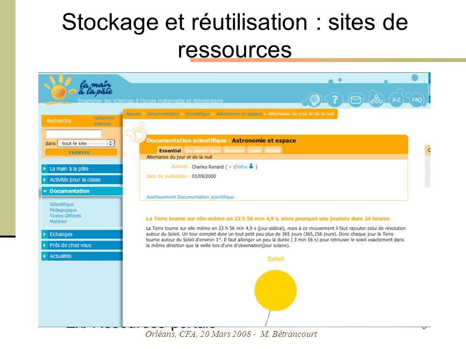 Orléans, CFA, 20 Mars 2008 - M. Bétrancourt 17 Traitement : support de complexité