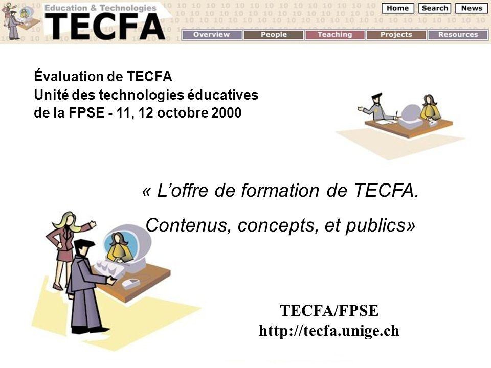 Évaluation de TECFA Unité des technologies éducatives de la FPSE - 11, 12 octobre 2000 « Loffre de formation de TECFA. Contenus, concepts, et publics»