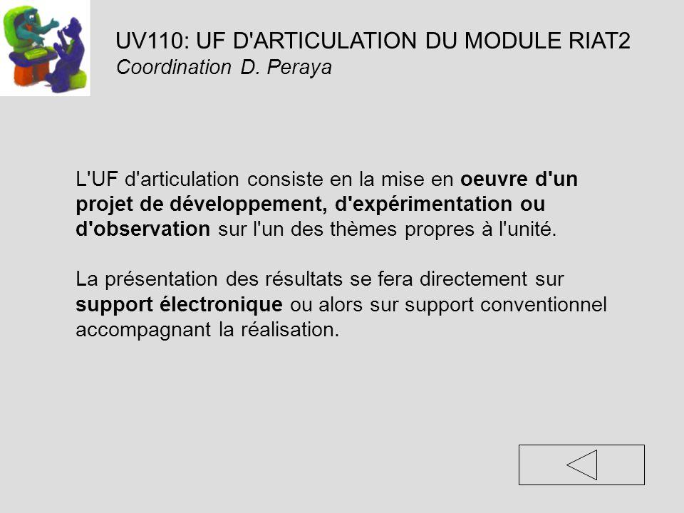 UV110: UF D'ARTICULATION DU MODULE RIAT2 Coordination D. Peraya L'UF d'articulation consiste en la mise en oeuvre d'un projet de développement, d'expé