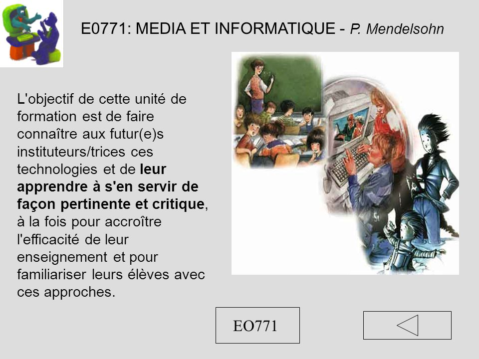 E0771: MEDIA ET INFORMATIQUE - P.