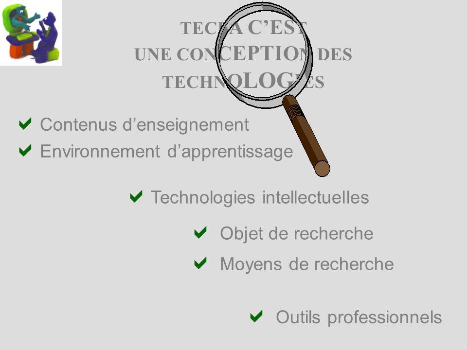 TECF A CES T UNE CON C EPTI O N DES TECHN O LOG I ES Objet de recherche Moyens de recherche Outils professionnels Contenus denseignement Environnement dapprentissage Technologies intellectuelles