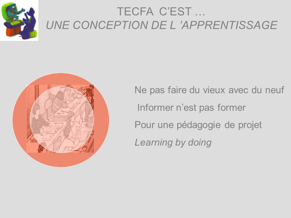 TECFA CEST … UNE CONCEPTION DE L APPRENTISSAGE Ne pas faire du vieux avec du neuf Informer nest pas former Pour une pédagogie de projet Learning by doing