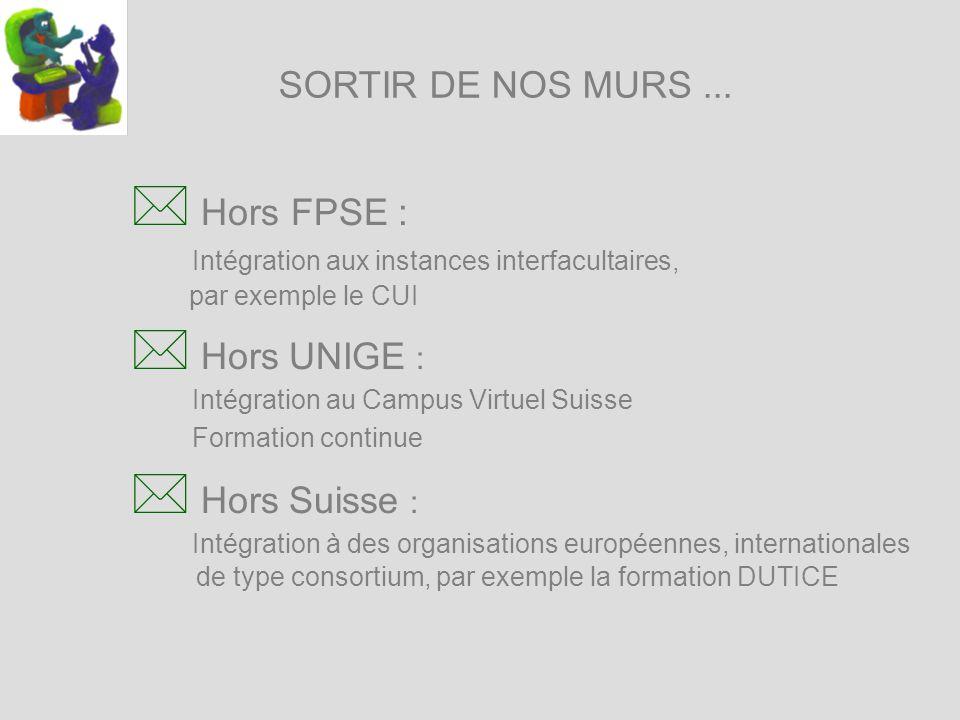 SORTIR DE NOS MURS... * Hors FPSE : Intégration aux instances interfacultaires, par exemple le CUI * Hors UNIGE : Intégration au Campus Virtuel Suisse