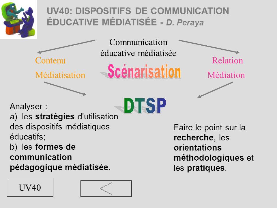 UV40: DISPOSITIFS DE COMMUNICATION ÉDUCATIVE MÉDIATISÉE - D. Peraya Analyser : a) les stratégies d'utilisation des dispositifs médiatiques éducatifs;