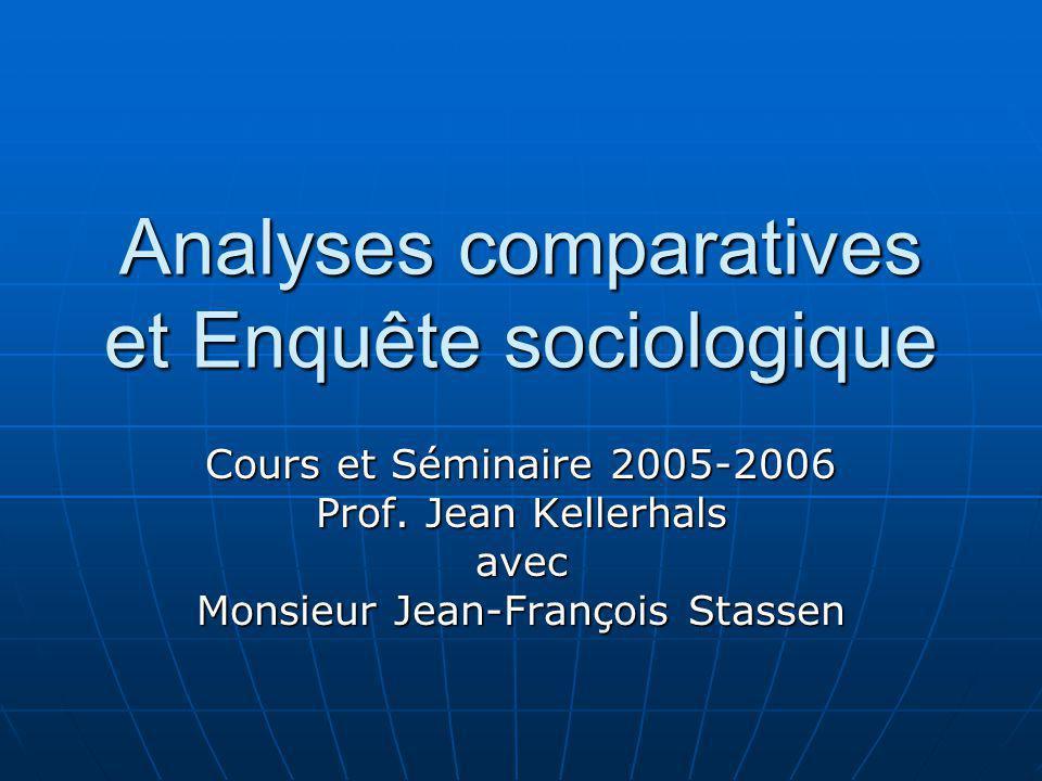 Analyses comparatives et Enquête sociologique Cours et Séminaire 2005-2006 Prof. Jean Kellerhals avec Monsieur Jean-François Stassen