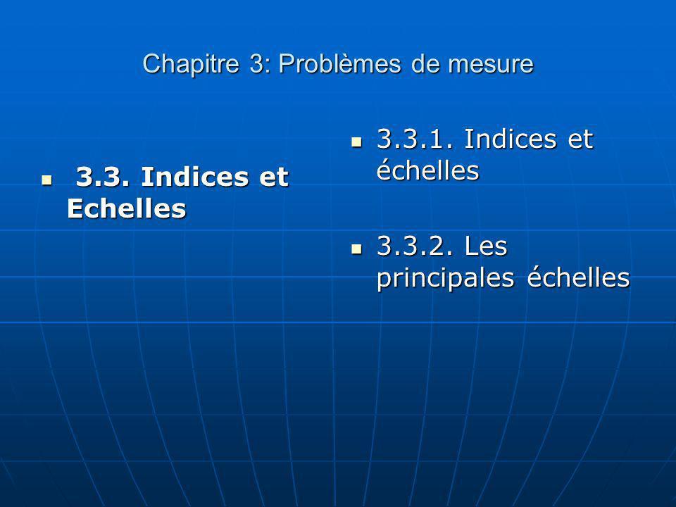 Chapitre 3: Problèmes de mesure 3.3. Indices et Echelles 3.3. Indices et Echelles 3.3.1. Indices et échelles 3.3.1. Indices et échelles 3.3.2. Les pri
