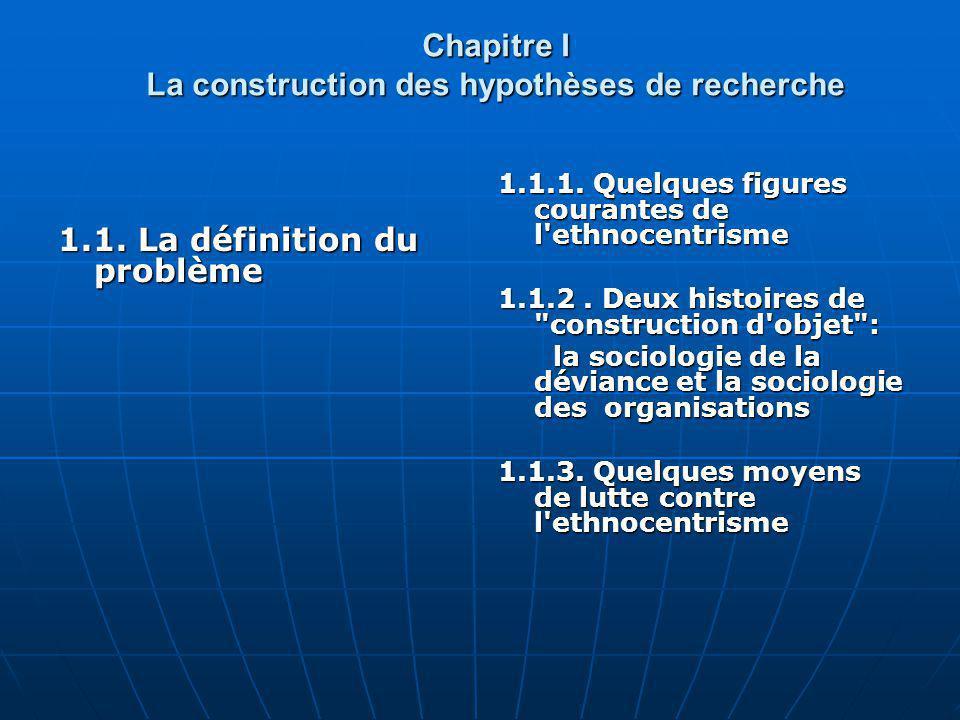 Chapitre I La construction des hypothèses de recherche 1.1. La définition du problème 1.1.1. Quelques figures courantes de l'ethnocentrisme 1.1.2. Deu