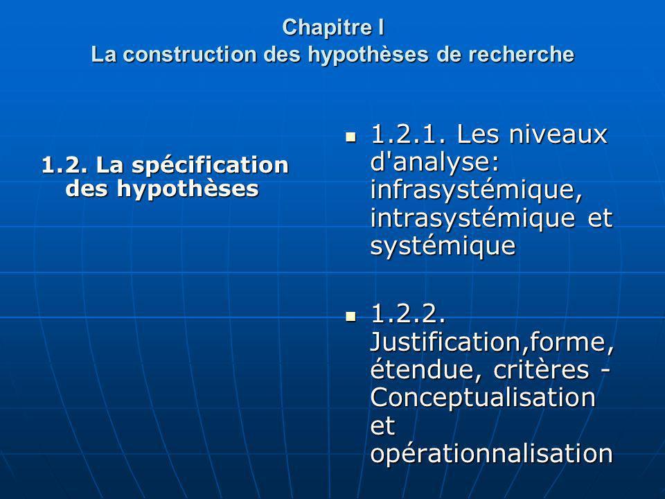 Chapitre I La construction des hypothèses de recherche 1.2. La spécification des hypothèses 1.2.1. Les niveaux d'analyse: infrasystémique, intrasystém